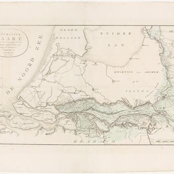 Een overzichtskaart van het Rivierengebied met de de Waal, de Rijn, de Maas, de IJssel, de Merwede en de Lek. De kaart geeft een overzicht van het Rivierengebied strekkende van Xanten (Duitsland) tot aan de Noordzee, en van 's-Hertogenbosch tot aan Kampen. Het overstroomde gebied in blauw/groen. De dijkbreuken zijn op de kaart met letters gemerkt en in een legenda linksboven beschreven. Een schaalstok rechtsonder en de titel in een ring-cartouche linksboven