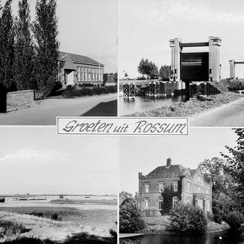Groeten uit, met vier inzetten: openbare lagere school, sluis Sint Andries, riviergezicht en Slot