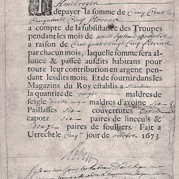 Brief uit huisarchief Ammersoyen, brandschatting van het dorp Ammerzoden 1673