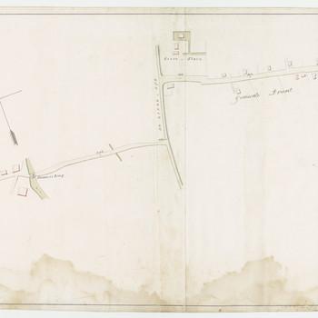 Kaart van het gedeelte van de gecombineerde zandweg van Tiel, Buren en Culemborg, strekkende van de Burense poort der stad Tiel tot de limietpaal tussen de districten Neder-Betuwe en Buren, aanwijzende de lengte van 5444 ellen, in 27 vakken afgedeeld, mitsgaders de juiste breedte en richting, alles volgens opmeting / architect Verbrugh.-1850.-1 krt.:in kleur; 194 x 35 cm <br/>Bevat:Tiel-Drumpt-Avezaath