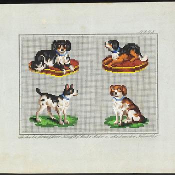 De voorstelling op dit borduurpatroon bestaat uit: 1. Een zwartwitte hond op een rood kussen kijkend naar rechts. 2. Een zwartwitte hond op een rood kussen kijkend naar links. 3. Een staande zwartwitte hond. 4. Een zittende bruinwitte hond., 1846-1868