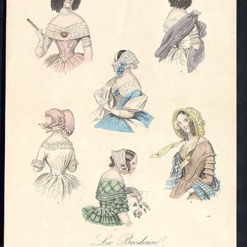 Dit is een ingekleurde gravure met zes mode voorbeelden, 15 octobre 1841