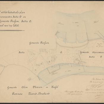 Uittreksel uit het kadastrale plan van de gemeente Heerewaarden sectie D en gemeente Rossum sectie A, met fort nieuw Sint Andries en sluis Sint Andries