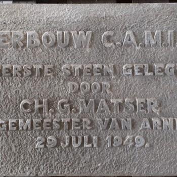 Eerste steen herbouw C.A.M.I.Z.