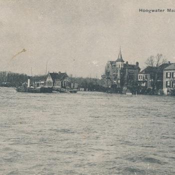 Ansichtkaart hoog water 1906 te Tolkamer