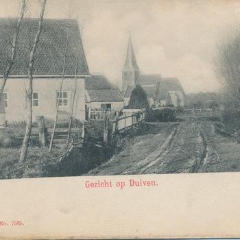 Ansichtkaart Droostraat gezicht op Duiven