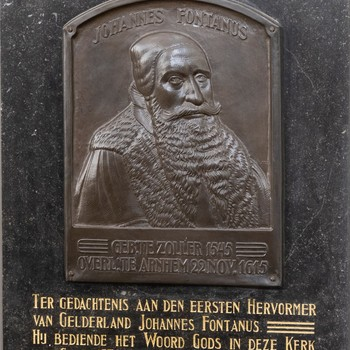 Gedenkplaat voor Johannes Fontanus, 1930, Stichting Eusebius Arnhem