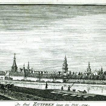 De Stad Zutphen langs den IJssel, 1744.