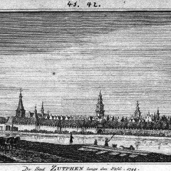 De Stad Zutphen langs den IJssel. 1744.