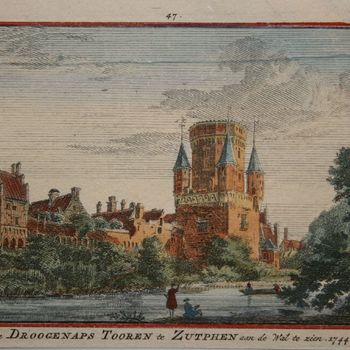 De Droogenaps Tooren te Zutphen aan de Wal te zien. 1744