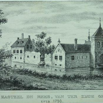 Het Kasteel de Rees, van terzijde gezien, circa 1750.
