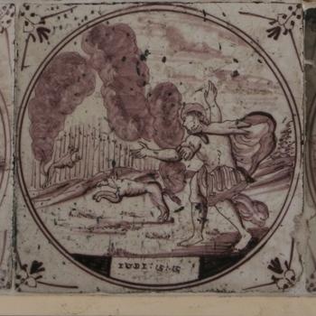 Tegeltableau met voorstellingen uit het Oude Testament