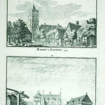 Markt te Lochem. 1743 't Huis Amssen bij Lochem. 1743