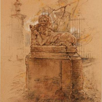 """Wapenleeuw op 't  ,,Medler"""",  Afkomstig van de ,,Eeze"""", [Zie gravure naar J. de Beijer ± 1750]"""
