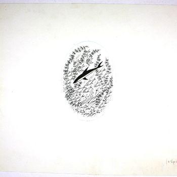 tekening van inkt op papier gemaakt door Jo Spier