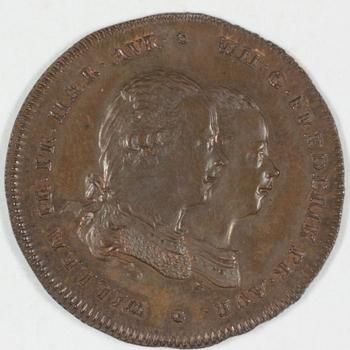 Herdenkingspenning stadhouder Willem V en zoon 1786.