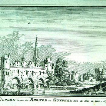 De Boogen boven de Berkel te Zutphen aan de Wal te zien. 1744