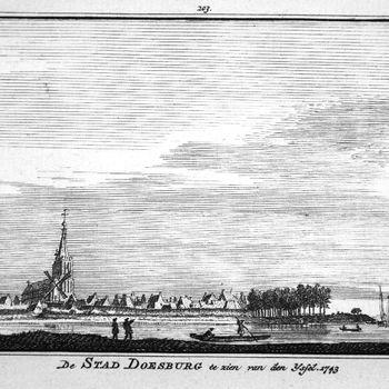 De Stad Doesburg te zien van den IJssel. 1743