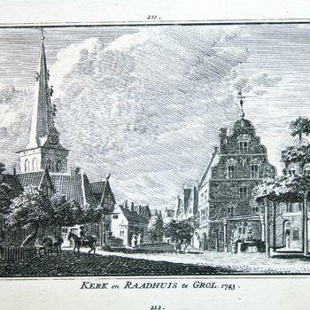 Kerk en Raadhuis te Grol. 1743.