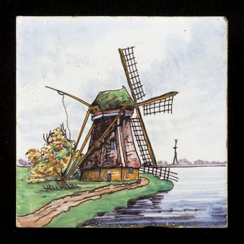 tegel van keramiek, tinglazuur, voorstellende Landschap gemaakt door Westraven te Utrecht ca. 1950
