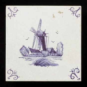 tegel van keramiek, opglazuur, voorstellende Landschap gemaakt door Holland Hilversumse Plateel en Tegelbakkerij te Hilversum ca. 1960