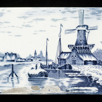 Tegel van keramiek, transfer, voorstellende een landschap gemaakt in Nederland ca. 1900
