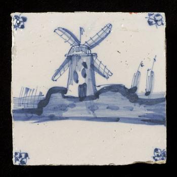 Tegel van keramiek, tinglazuur, voorstellende een landschap gemaakt in Utrecht ca. 1800