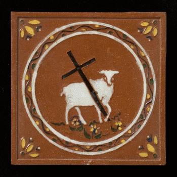 tegel van keramiek, reliëf, voorstellende Bijbels tafereel gemaakt door A.L. Creèecoeur te Epe, ca. 1950-1975