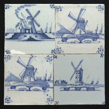 Tegelveld in tinglazuur, voorstellende molen in landschap, ca. 1780-1800