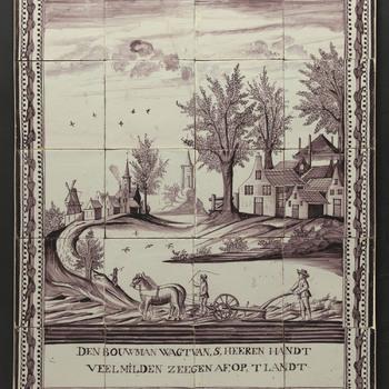 tegeltableau van keramiek, tinglazuur, voorstellende Ploegende boer gemaakt te Utrecht, ca. 1840-1860