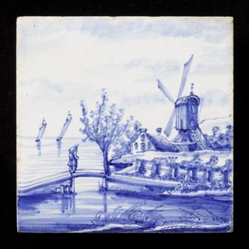 Tegel van keramiek, tinglazuur, voorstellende een landschap gemaakt in Utrecht ca. 1890