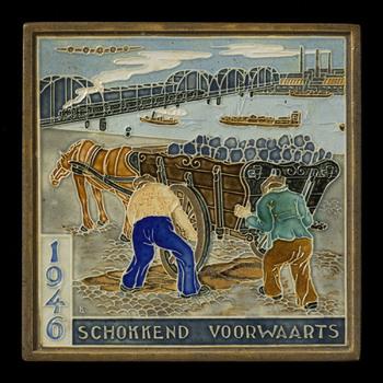 tegel van keramiek, cloisonné, voorstellende Gelegenheidsdecor gemaakt door Dirk Zwanink te Utrecht ca. 1946