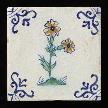tegel van keramiek, tinglazuur, voorstellende Bloem op grondje gemaakt te ZUID HOLLAND? ;NOORD HOLLAND? ca. 1640-1660