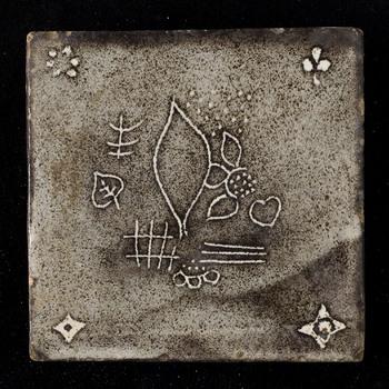 tegel van keramiek, gemaakt door Keramisch Atelier Otto Lindig te Duitsland, Dornburg ca. 1936
