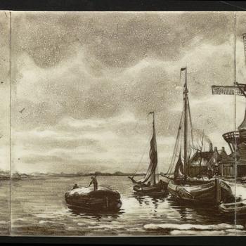 tegeltableau van keramiek, onderglazuur, voorstellende Landschap gemaakt door N.V. Plateelbakkerij (P.B.D.) Delft te Hilversum ca. 1900