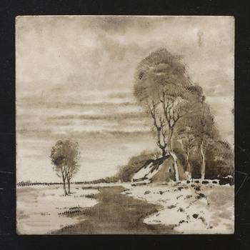 """tegel in onderglazuur, voorstellende een landschap met boerderij, door de Faience- en Tegelfabriek """"Holland"""" in Utrecht, ca. 1895-1905"""