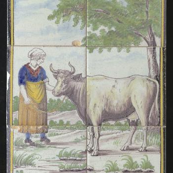 Tegeltableau van keramiek, tinglazuur, voorstellende een boerin met koe gemaakt in Utrecht door Westraven ca. 1875-1900