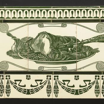 tegeltableau van keramiek, onderglazuur, voorstellende objectdecor gemaakt door Boizenburger Wandplattenfabrik te Duitsland; Boizenburg ca. 1900