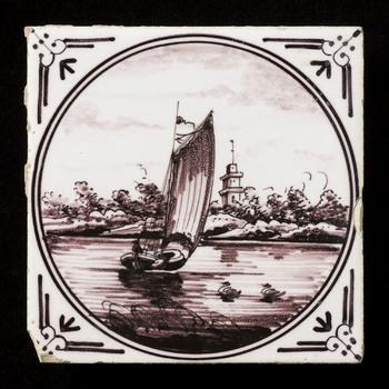 Tegel van keramiek, tinglazuur, voorstellende een landschap gemaakt in Utrecht ca. 1880-1890