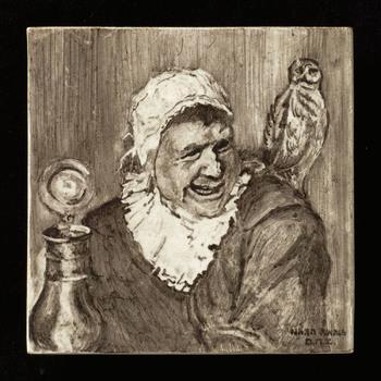 tegel van keramiek, onderglazuur, voorstellende Portret gemaakt door Dick M. Zwanink te Utrecht ca. 1930