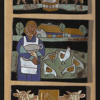 Tegeltableau met voorstelling van het boerenleven, vervaardigd door Henk Potter te Oisterwijk, ca. 1960-1980