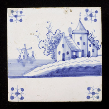 Tegel van keramiek, tinglazuur, voorstellende een landschap gemaakt in Utrecht ca. 1906