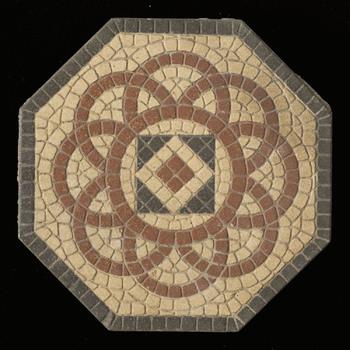 Vloertegel van keramiek, inleg, industrie, relief, waarschijnlijk gemaakt in Nederland of Duitsland ca. 1900-1930