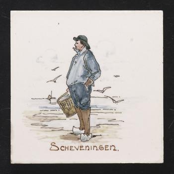tegel in onderglazuur, voorstellende een visser in streekdracht van Scheveningen, vervaardigd door de Fayence- en tegelfabriek Holland in Utrecht, 1895-1915