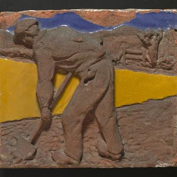 bouwkeramiek van keramiek, voorstellende Beroepsfiguur gemaakt door Brouwers' aardewerk te Leiderdorp ca. 1945-1956