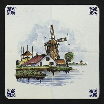 tegeltableau van keramiek, opglazuur, voorstellende Landschap gemaakt door Holland Hilversumse Plateel en Tegelbakkerij te Hilversum ca. 1960