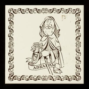 tegel in zeefdruk, met voorstelling: Voorstelling van Abraham met een pot mosterd, cadeautegel voor een 50-jarige, op een biscuittegel van Mosa uit Maastricht, ca 1983-1990