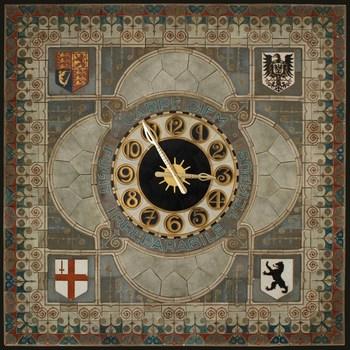 Wijzerplaat van een groot uurwerk, uitgevoerd in van keramische tegels, vervaardigd door de Porceleyne Fles in Delft, naar ontwerp van de architect A.D.N. van Gendt, ca. 1917-1919