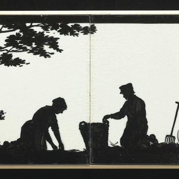 Tegeltableau van keramiek, gesjabloneerd, voorstellende oogst ca. 1915-1930