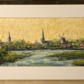 Olieverfschilderij van stadsgezicht op Doetinchem door Jan Stap, 1900